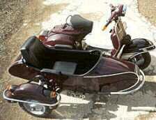 nostalgie blech motorroller mit beiwagen rot mittleres. Black Bedroom Furniture Sets. Home Design Ideas